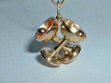 VINTAGE 14K YELLOW GOLD 3D MARTINI GLASSES COCKTAIL CHARM