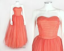 VTG 1950s PINK SALMON TULLE RHINESTONE STRAPLESS EVENING PROM DRESS GOWN SZ XS