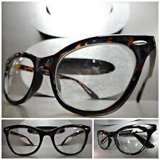 CLASSIC VINTAGE 60's CAT EYE Style Clear Lens EYE GLASSES Tortoise Fashion Frame