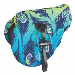Shires Waterproof Ride On Saddle Cover in Lime Peacock Design  Onesize