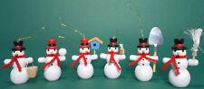 6x Schneemann Figuren Baumschmuck zum hängen 6 cm groß aus Holz neu