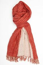 Brick red & beige/ cream spotty 2 sided LINEN mix scarf 48x175cm