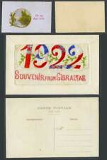 More details for silk embroidered 1922 old postcard souvenir from gibraltar flags to my dear wife