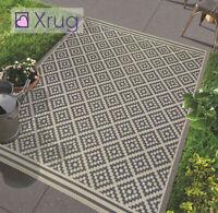 Grey Beige Rug Outdoor Garden Water Resistant Checkered Carpet Indoor Runner Mat