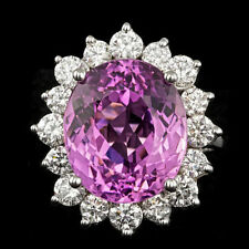 Certified Kunzite 10.10cttw and 1.75cttw Diamond 14KT White Gold Ring