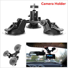 Car SUV Dash Windshield Triple Low Angle Suction Cup Mount Holder For DVR Camera