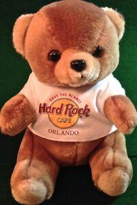 "Hard Rock Cafe ORLANDO 1990s Classic TEDDY BEAR Plush HRC ""STP"" Logo Tee T-Shirt"