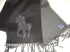 NEW MENS RALPH LAUREN BLACK & GREY LARGE PONY REVERSIBLE SCARF MADE IN ITALY