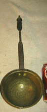 1 ANTIQUE PRIMITIVE HAND FORGED IRON BRASS FOLK ART FIRE STOVE HEARTH LADLE TOOL