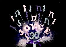 Nota musicale con piume personalizzato compleanno cake topper, Decorazione Personalizzata
