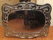 VTG 1988 Manville Safe Driver Belt Buckle ~ Western Style ~Truck ~ Semi~Big Rig