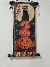 Halloween Primitive Vintage Style Pumpkin Black Cat Wall Hanging Decor 17.5""