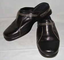 Cole Haan Black Leather Mules 6.5 Stitched Band Slip On Shoes