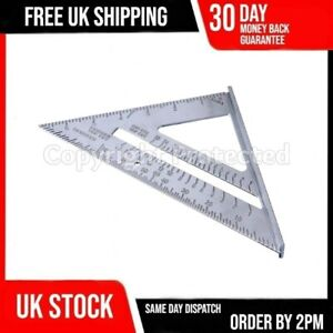 """7"""" HEAVY DUTY ALUMINIUM METAL ROOFING RAFTER SPEED SQUARE ANGLE MITRE GUIDE UK"""