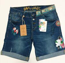 Desigual Women's Embroidery Denim Jeans Shorts Size 31, USA 7, UK 13, BNWT