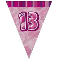 Pink Glitz 13 Flag Banner 12 Ft String Flags 13th Birthday Party Decorations