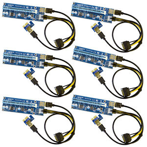 MintCell 6-Pack of 6-Pin PCI-E Express 1X to 16X 60cm USB Riser Adapter