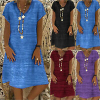 Women Boho V Neck Dress Mini Short Sleeve Summer Casual Beach T-Shirt Sundress