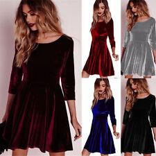 Winter Autumn Women Ladies Velvet Skater Dress Evening Party Ruffles Pleat Skirt