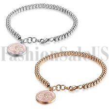 Women's Ladies Stainless Steel Charm Rose Dangle Beaded Chain Bangle Bracelet