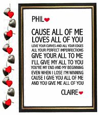 ANNIVERSARY Gift Personalised Wedding LYRICS Word Art John Legend 'All of me' A4