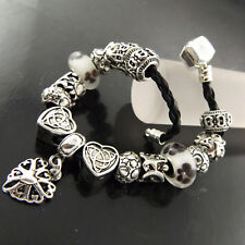 CHARM BRACELET CUFF BANGLE GENUINE 925 STERLING SILVER S/F SOLID LEATHER STRAND