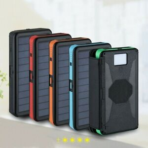 2020 Waterproof Solar Power Bank 30000mAh Portable External Battery Charger US
