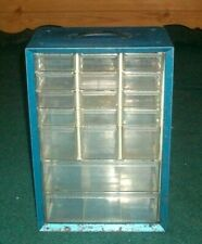 Vtg Blue 15 Small Drawers Amp 2 Large Metal Akro Mills Small Parts Storage Box
