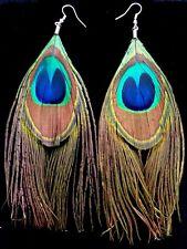Earrings Turquoise Silver Hippie Bohemian Ethnic Boho Tribal Peacock Gypsy A1040