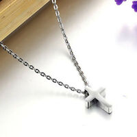 Simple Small Silver Cross Pendant Stainless Steel Quality Necklace Women Men's
