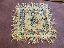 "Collectible Tapestry Table Linen 16"" + 4"" Fringe Horse & Rider Uniquw"