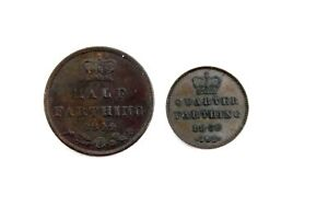 Antique 1844-52 QUEEN VICTORIA Copper Half and Quarter FARTHING Coins  - P15