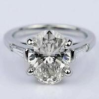 Three Stone 1.90 Carat Oval Cut Diamond Engagement Ring 14k White Gold VS2 I