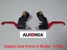 """882RJ Coppia Leve Freno """"Alhonga"""" V-Brake Rosse per bici 20-24-26 Graziella"""