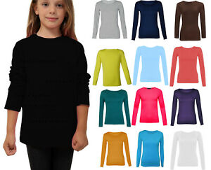 Girls Childrens Kids Long Sleeve Round Neck Dance Plain Basic T-shirt Tops 2-13