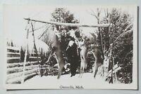 Deer Pole Hunting in Greenville, Michigan Vintage Real Photo Postcard RPPC 8107