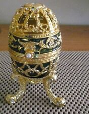 "5.8"" Egg Gold Enameled Jewelled White Crystals and Pearl Music Box"