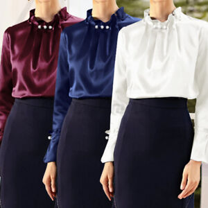 Womens Vintage Silky Satin Puff Long Sleeve Party Office Tops Shirt Blouse Plus