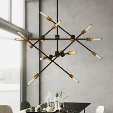 Vintage Black Brass Geometric Linear Rotated Ceiling Pendant Lights 6/12 Lights