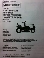 "Sears Craftsman 14.5 HP Lawn Riding Tractor & 42"" Mower Owner & Parts Manual"