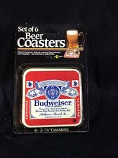 Vintage Budweiser Beer Coasters 1980's New Old Stock 6 In 1 Pack