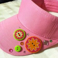 Visor Pink Adjustable with Colorful Buttons and Rhinestones