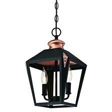 Antike Vintage Pendelleuchte Deckenlampe Laterne Schwarz mit Kupfer für 2 Lampen
