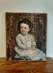 Antique Childs Oil Painting Portrait, 1874 George J Robertson, Rockford Illinois