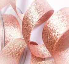 Berisfords Rose Gold Copper Sparkly Lame Metallic Glitter Ribbon 7, 15, 25, 40mm