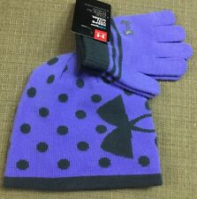 Under Armour Beanie and Glove Set Violet Storm Size Medium 4-7 Years New