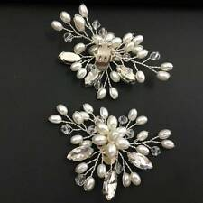 Fashion 2 Pcs Pearl Crystal Shoe Clips Decor Bridal Shoes Rhinestone Clip Buckle
