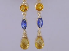 E060- Genuine 9ct Yellow Gold NATURAL Citrine & Sapphire Drop Earrings