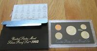 1992 S Silver Proof Set U.S. Mint Silver Proof Set Box and COA 3 90% Silver coin