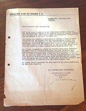 1937 LETTER JEWISH CLUB DANZIG TO TEL-AVIV MUSEUM ISRAEL PALESTINE SIGNED JEW